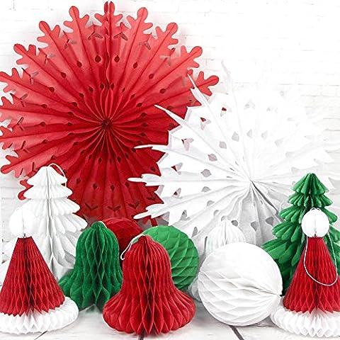 SUNBEAUTY 12er Set Weihnachten Papier Dekoration Rot&Grün&Weiß Schneeflocken Wabenbälle Weihnachsbaum Deko für Weihnachtsfest