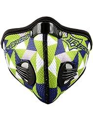 RockBros Deportes al aire libre máscara resistente al viento resistente al polvo Haze Prevención de media cara máscara con filtro de carbón activo, Green Blue