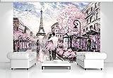 FORWALL Fototapete Tapete Paris P4 (254cm. x 184cm.) Photo Wallpaper Mural AMF11470P4 Gratis Wandaufkleber Stadt Paris Gemälde Frankreich Kunst Eiffelturm
