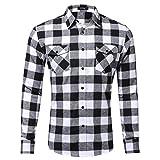 Xmiral Herren Bluse Art und Weise beiläufige Langarmhemd Taschen Lattice Bedruckte T-Shirt (XL,D-Weiß)