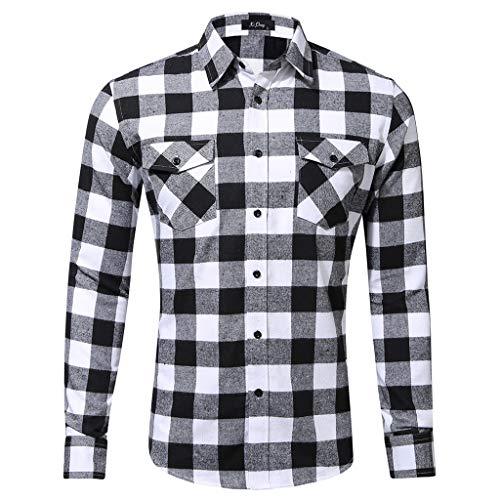 emp pokemon Xmiral Herren Bluse Art und Weise beiläufige Langarmhemd Taschen Lattice Bedruckte T-Shirt (XS,D-Weiß)