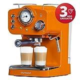 Oursson Espressomaschine für Pulver & Pads, 3 Jahre Garantie, Espresso, Cappuccino, Latte, Mokka, 15 bar, Rot, 1,5 Liter, Orange, EM1500/OR