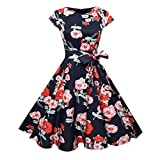 MRULIC Frauen Vintage Bodycon Kurzarm Casual Retro Abend Party Prom Swing Kleid(S-Rot,EU-40-42/CN-XL)