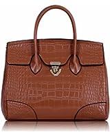 KCMODE Damen Designer braun größere Größe Tasche Damen Faux Croc Leder Tote-Handtasche