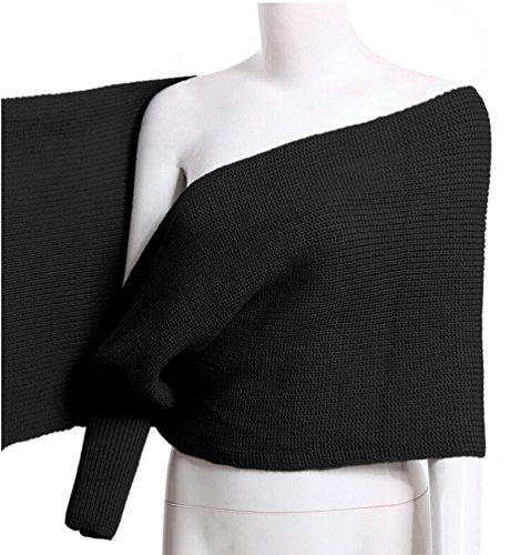 Ghope Femme pull en tricoté écharpe coréenne automne hiver tricoté Cape manteaux Noir