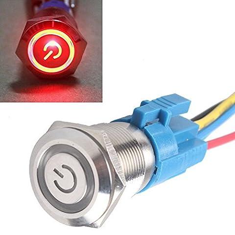 Mintice™ Interrupteur Commutateur Bouton Poussoir en Métal Lumière Eclairage Rouge