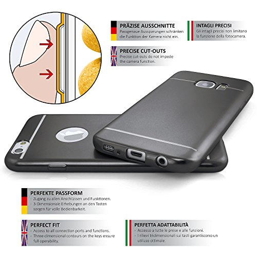 iPhone 4S Hülle Silikon Silber [OneFlow Smooth Back-Cover] Chrom Matt Silikonhülle Ultra-Slim Schutzhülle Metallic Handy-Hülle für iPhone 4/4S Case Dünn GRAPHITE-BLACK