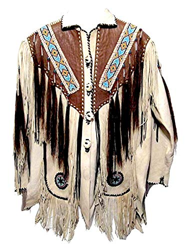 Classyak Hombres de Western Flecos, con Cuentas y Huesos Chaqueta de Piel