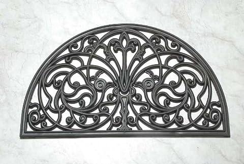 Homescapes Halbrunde Schmutzfangmatte Fußmatte Ornament 45 x 75 cm (Breite x Länge) Türmatte aus 100% Gummi strapazierfähiger Fußabtreter