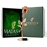 24K Gold Plated Red Crystal Double Rose Table Top Ornament by Matashi? by Matashi
