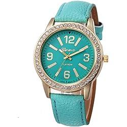 WINWINTOM Women Stainless Steel Analog Leather Quartz Wrist Watch Sky Blue