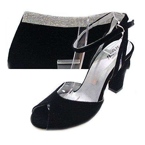 W & W femmes Mesdames Soirée Chaussures et sac assorti en velours confort Taille (Nisha & Zebi) Noir