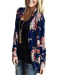 d0eabe71a1809 ZIOOER Flower Pattern Cardigan Asymetrique Femme Veste en Tricot Motif  Géométrique Imprimé Manteau Automne à Manches