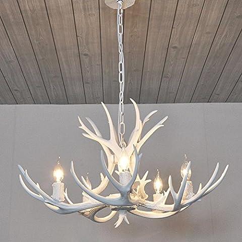 5 Lichter Harz Weiß Kronleuchter Retro Stil Künstlerische Individualität Geweihe