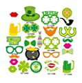 OULII St Patricks Photo Booth Props for Irish Beer Festival Sharmrock Props on A Stick Party Acessories Wedding Party Reunions Birthdays Photobooth Favors, pack of 27