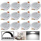 Hengda® 12X 5W LED Einbauleuchte Dimmbar Kaltweiß IP44 Silber Matt für das Bad geeignet Innenbeleuchtung 230v | Rund | Einbauspot | Deckenleuchten |