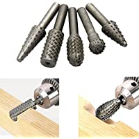"5 Unidades Rotary Burr Set Wood Carving File Rasp Drill Bits 1/4 ""6mm Shank Tool Diámetro de la cabeza 13mm"