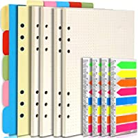 Teenitor A5 Notebook Refillable Accessories- 2 Packs Ruled Paper/Dotted Paper, 1 Set Horizontal/Vertical Subject Dividers, 4 Packs Index Tabs, 6 Hole Binder Diary Inserts Planner Refills Note Flags
