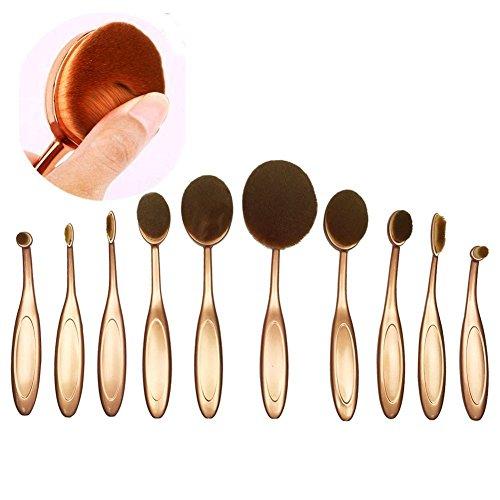 Naturebeauty 10 pcs ovale Brosse à dents Lot de pinceaux de maquillage Fond de teint Contour Correcteur Highlight Blush crème liquide Poudre Cosmétique kit d'outils