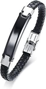 Vnox Incisione Gratuita Marchio di Piegatura Cuoio Intrecciato Bracciale in Acciaio Inossidabile Nero + Argento 21,5cm,Personalizzato