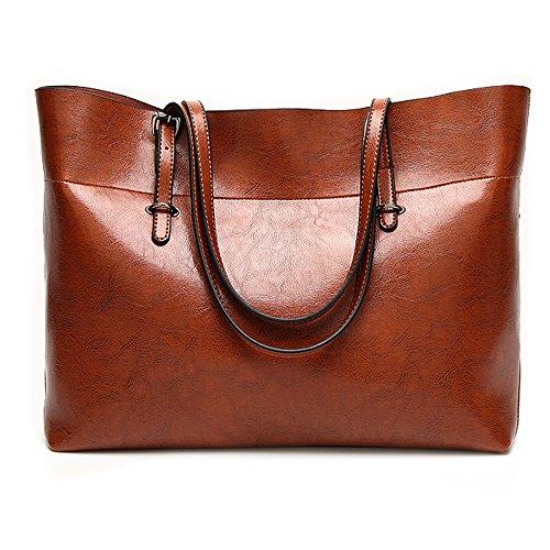 Bolso de cuero de mano para las mujeres, gran viaje bolso bandolera señora cremallera de la mujer bolsa de trabajo mochila (Marrón)