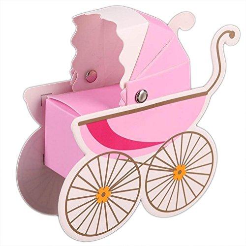 Monbedos 50Candy Box Baby Warenkorb Geschenk Papier Box Keks Kiste Deko behandelt Boxen für Kinder Geburtstag Baby Dusche Gäste Hochzeit Party Supplies Rose