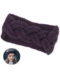 LEEGOAL Mujer Versátil Lana Knit Crochet Twist Hair Band Headband Ear  Warmer morado morado 7b3f5887b2f