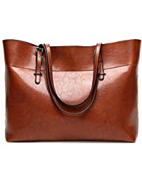 Nikauto Leather Tote Bag For Women, Large Commute Handbag Shoulder Lady Zipper Women'S Work Satchel - Brown