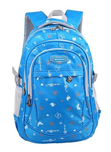 Keshi Nylon Cool Schulrucksäcke/Rucksack Damen/Mädchen Vintage Schule Rucksäcke mit Moderner Streifen für Teens Jungen Studenten Blau