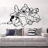 Sticker mural chambre d'enfants de bande dessinée Anime Stitch sticker mural salle de jeux vinyle décor 65x43cm noir