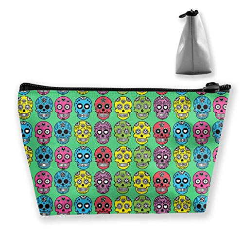 Sugar Skull Pattern Multifunction Travel Makeup Bags Pencil Case Handbag Organizers With Zipper