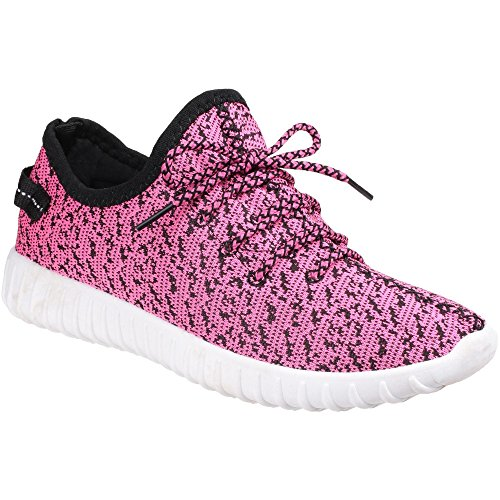 Divaz donna' Zest mesh PVC Flyknit knit-weave Low top sneakers FUCHSIA