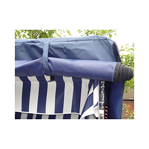 Strandkorb anthrazit + winterfester Strandkorb Schutzhülle u. 4x Kissen – Polyrattan Gartenliege Volllieger Strandstuhl Liegestuhl Ostsee Strandkorb Sylt - 5