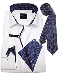 Venti Edition Slim Fit Langarmhemd weiss mit Krawatte und passendem Einstecktuch 172815600-000