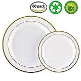60 x schwere, weiße Plastikteller mit Goldrand, 30 x 26 cm Teller, 30 x 19 cm Salatteller, plastik, White/Gold Rim, 30 dinner plates+30 salad plates