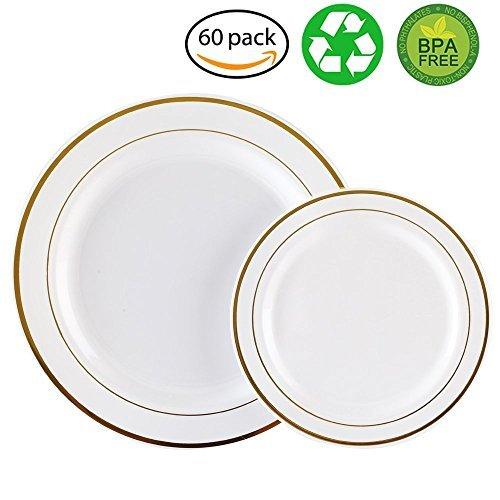 (60 x schwere, weiße Plastikteller mit Goldrand, 30 x 26 cm Teller, 30 x 19 cm Salatteller, plastik, White/Gold Rim, 30 dinner plates+30 salad plates)