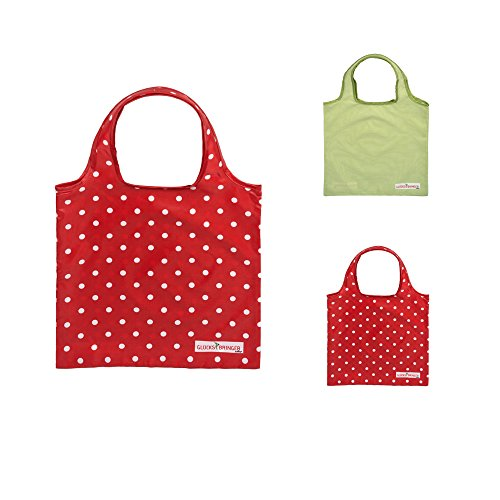 ebos Glücksbringer-Minishopper ✓Einkaufstasche | Mini-Tasche | Tasche | Transporttasche (rot gepünktelt)
