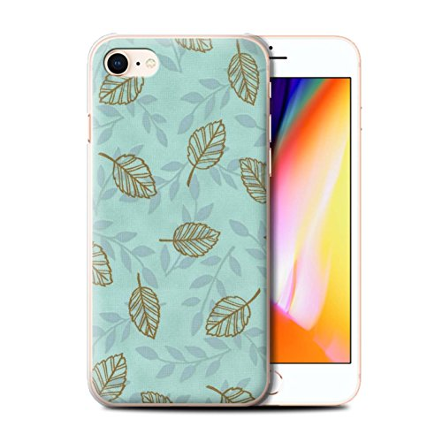 Stuff4 Hülle / Case für Apple iPhone 8 / Lila/Blau Muster / Blatt/Ast Muster Kollektion Türkis/Braun
