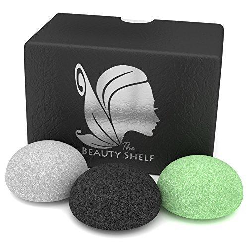 The+Beauty+Shelf Konjac Sponge Facial Sponges Hemisphere Shape Charcoal, Green Tea, Natural White