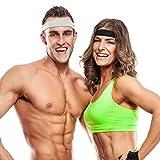 Bandeaux Sport OMorc Lot de 2 Bandeaux Cheveux de Sport Antidérapant Pour le Yoga, Course, Cyclisme, Randonnée, Fitness, Crossfit et Ski de fond (Home et Femme)