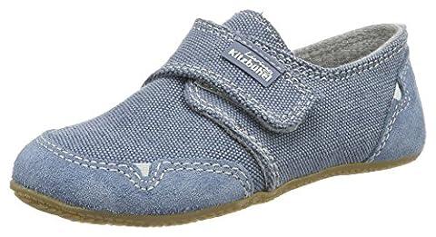Living Kitzbühel Unisex-Kinder Klettmodell Jeans Hausschuhe, Blau (Indigo), 28 EU