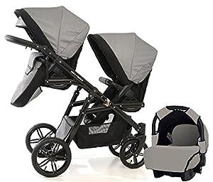 Zwillingswagen. 2 x Buggy, 1 x Babywanne, 1 x Babyschale.