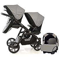 Carro doble (gemelar) niños diferentes edades. 2 sillas + 1 portabebe + accesorios.