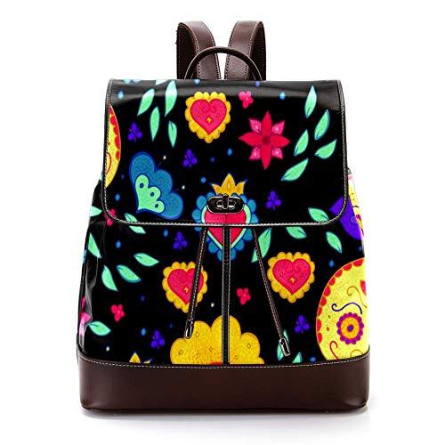 TIZORAX Mexiko Sugar Skull PU Leder Rucksack Fashion Schultertasche Rucksack Reisetasche für Frauen Mädchen