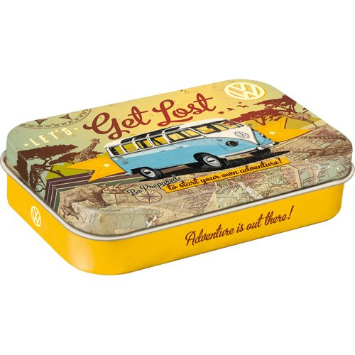 Nostalgic-Art 82109 Volkswagen - VW Bulli - Let's Get Lost| Pillen-Dose XL | Bonbon-Box | Metall | mit Pfefferminz-Dragees