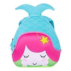 51lw22eenlL. SS300  - NOHOO Escuela de niños sirena 3D mochila impermeable bolsas de viaje (Azul)