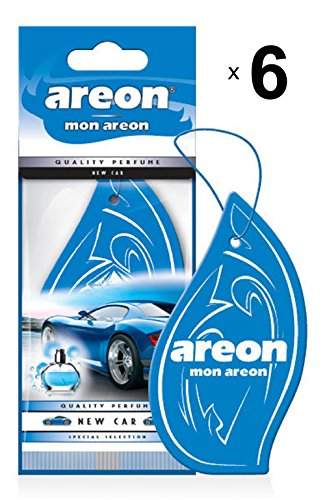 Areon Mon Air Freshener Car Smell New New Car Pendant Hang Original Perfume Blue Cardboard Rear View Home Office 2D (6 Pack)