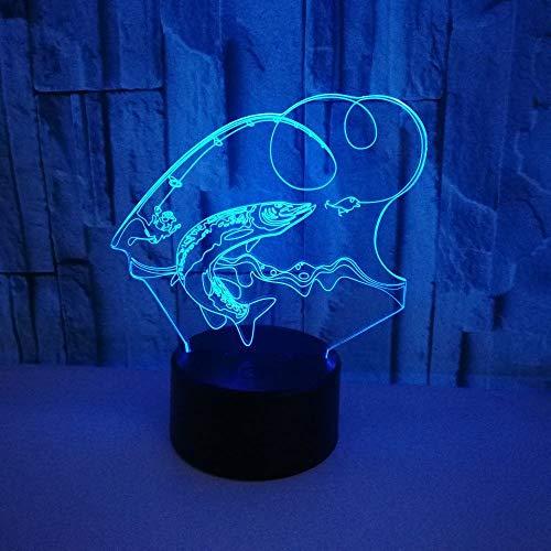 weiaikeke 7 Farbwechsel Fisch 3D led Lampe USB Lade Angeln 3D nachtlicht Touch Button Bluetooth Lautsprecher tischlampen erstaunliche Geschenke - Angel-touch-lampe