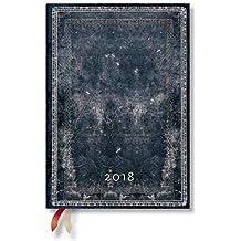 Paperblanks - Faux Leder Mitternachtsstahl - Kalender 2018 Midi Wochenüberblick Horizontal - deutschsprachige Ausgabe