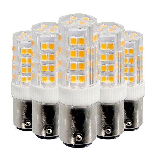 WELSUN BA15D Birne LED 5 Watt 52LED 2835SMD 400-500 Lm Warmweiß Kühles Weiß Dimmbare LED Keramik Lampe AC 220-240 V AC 110-130 V (5 STÜCKE) (Color : Cool White, Size : 110V) (130v Lampe)